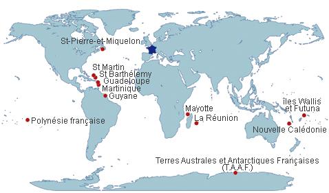 Carte des collectivités françaises d'outre-mer